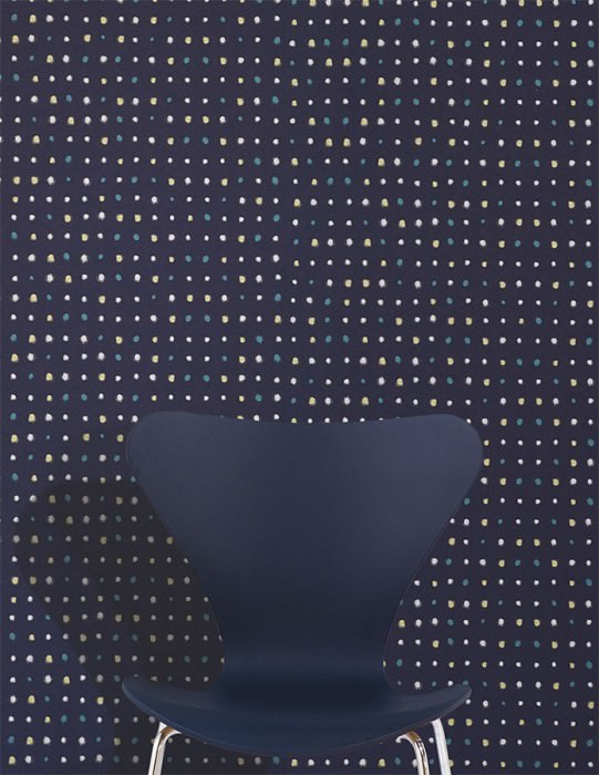 Wallpaper Wukata Matt Dots Dark blue Green yellow shimmer Silver shimmer Turquoise blue shimmer