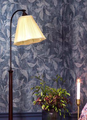 Wallpaper Ebru blue grey Room View