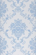 Wallpaper Emmeline Matt Floral damask Cream Pastel blue