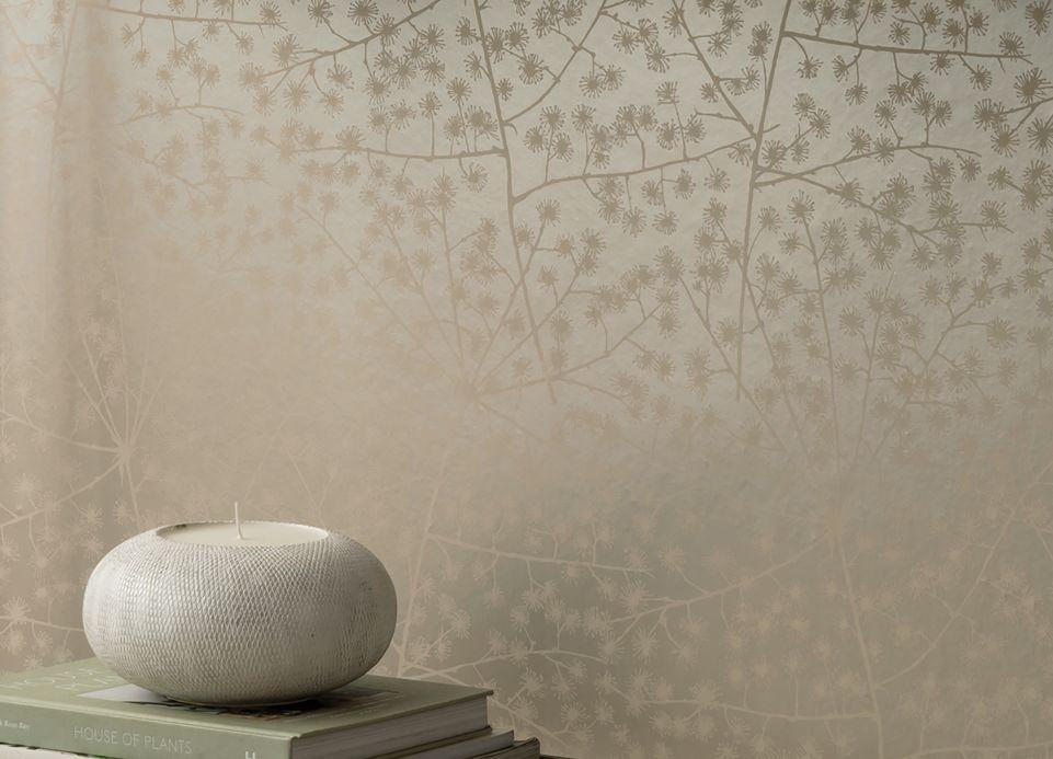 Papel pintado floral Papel pintado Belmira blanco grisáceo Ver habitación