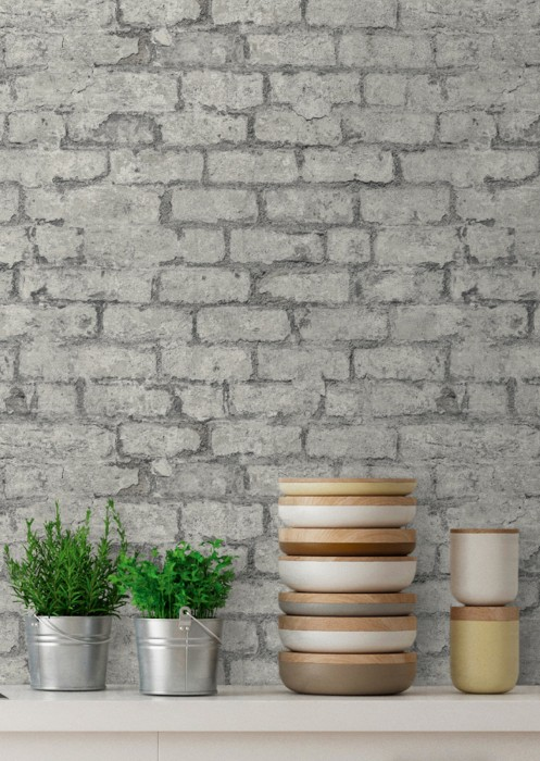 Wallpaper Vinlor Matt Bricks Grey Light grey