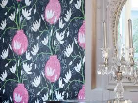 Papel pintado Habita Mate Flores Elementos florales Jarrones Gris Gris negruzco Beige Blanco crema Violeta érica Verde