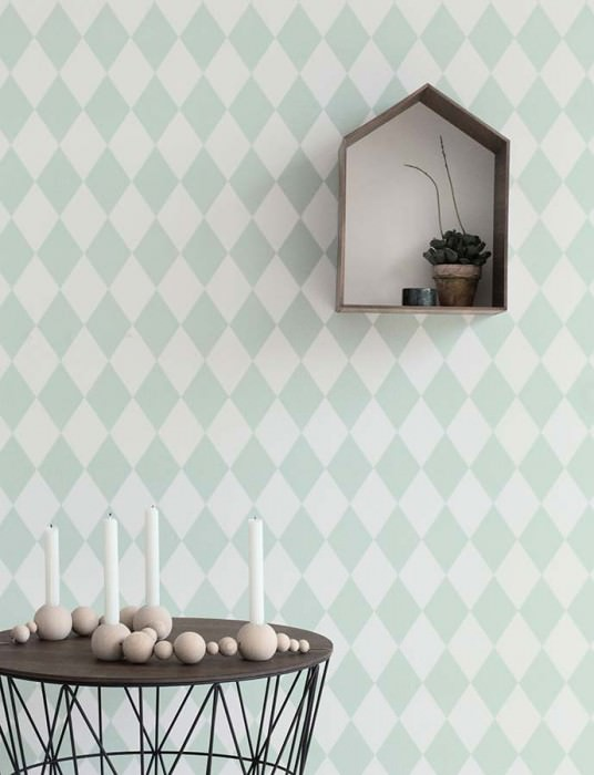 Wallpaper Harlequin Hand printed look Matt Rhombuses White Pale green