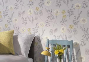 Wallpaper Tauria Matt Leaves Flowers Light grey Curry yellow Grey tones White