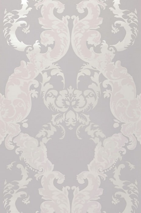 Wallpaper Siemara Shimmering pattern Matt base surface Baroque damask Light grey Pale light grey Grey white Grey white shimmer