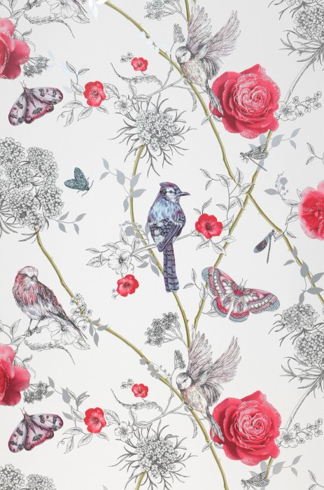 Wallpaper Mariola Glitter effect Matt Butterflies Birds Branches with leaves and blossoms White Fern green Grey blue Pearl light grey Red Silver glitter