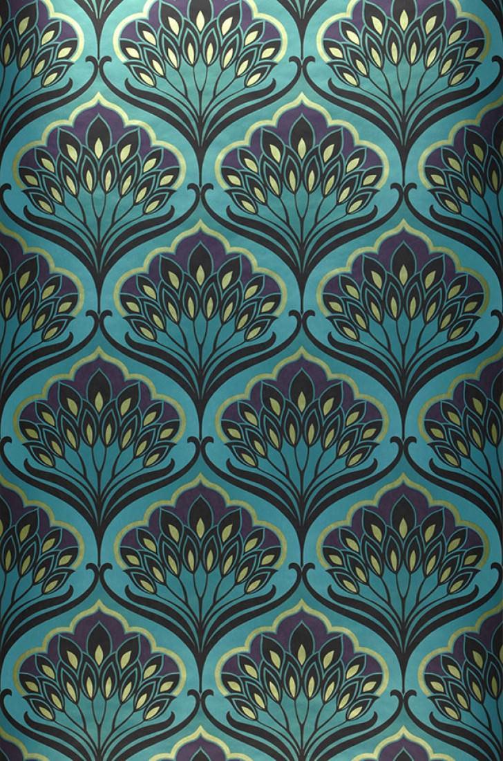 papier peint perdula bleu turquoise violet fonc beige. Black Bedroom Furniture Sets. Home Design Ideas