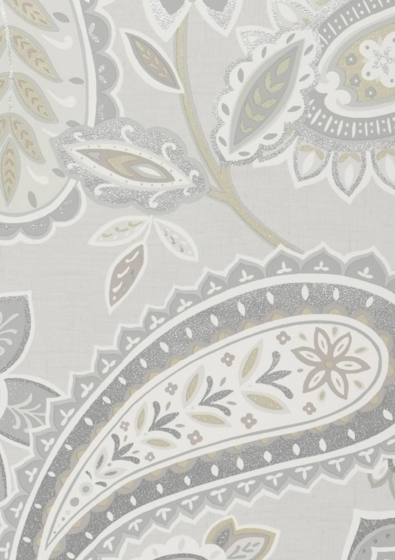 Papel pintado delba blanco gris ceo gris oliva brillante - Papel pintado plateado ...