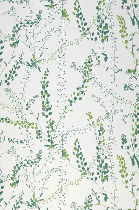 Wallpaper Alanna Hand printed look Matt Grasses White Pea green Opal green