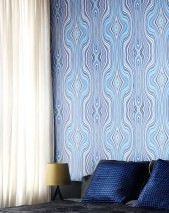 Wallpaper Mentana Matt Retro design Wavy pattern Shades of blue Cream Violet