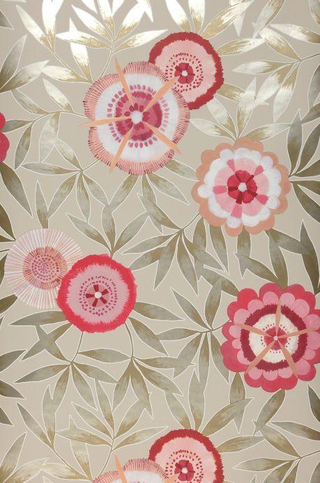 Floral Wallpaper Wallpaper Sefina raspberry red Bahnbreite