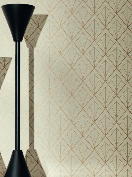 Wallpaper Catriona Shimmering pattern Matt base surface Art Deco Graphic elements Eggshell Gold shimmer