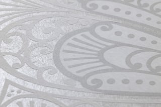 Wallpaper Astoria Matt pattern Shimmering base surface Art nouveau damask Matt silver Silver grey shimmer White