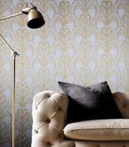 Carta da parati Emilia Brillante Art Deco Fontane di champagne Bianco crema perlato Oro perlato