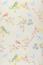 Wallpaper Audrey Matt pattern Shimmering base surface Blossoms Butterflies Birds Cream pearl lustre Heather violet Yellow Light blue Copper brown White