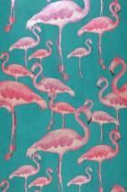 Papel pintado Amidala Patrón brillante Superficie base mate Flamencos Turquesa Marfil claro Rojo frambuesa Violeta rojizo
