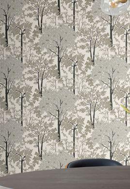 Papel pintado Mirabelle tonos de gris Raumansicht
