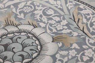 Wallpaper Benedetta Matt Flower tendrils Blossoms Grey Pale brown Cream Light grey Black grey