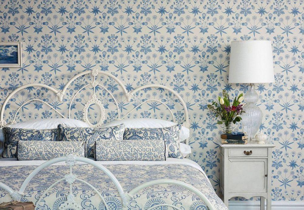 Papel pintado clásico Papel pintado Vatea azul pastel Ver habitación