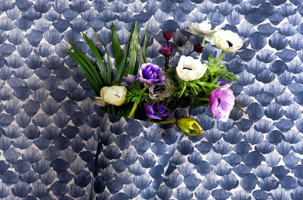 Papel pintado Poppy Mate Hojas Gris sílex Azul acero