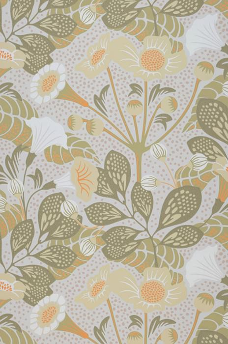 Wallpaper Ancasi Hand printed look Matt Leaves Blossoms Grey white Ivory Olive yellow Olive grey White