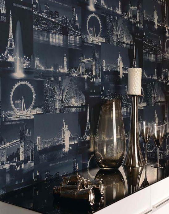 Archiv Papel pintado Arturo azul oscuro Ver habitación