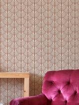 Wallpaper Yamila Matt Bends Triangles Cream Beige red Wine red