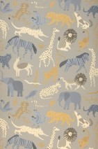 Wallpaper Safari Matt Animals Stone grey Blue grey Brown beige Grey Light ivory