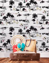 Wallpaper Aloha Matt Flowers Palm trees People Animals Words White Green beige Light pink Patina green Black