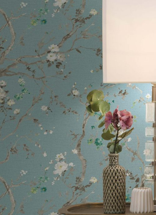 Animal Wallpaper Wallpaper Malabar pastel turquoise Room View