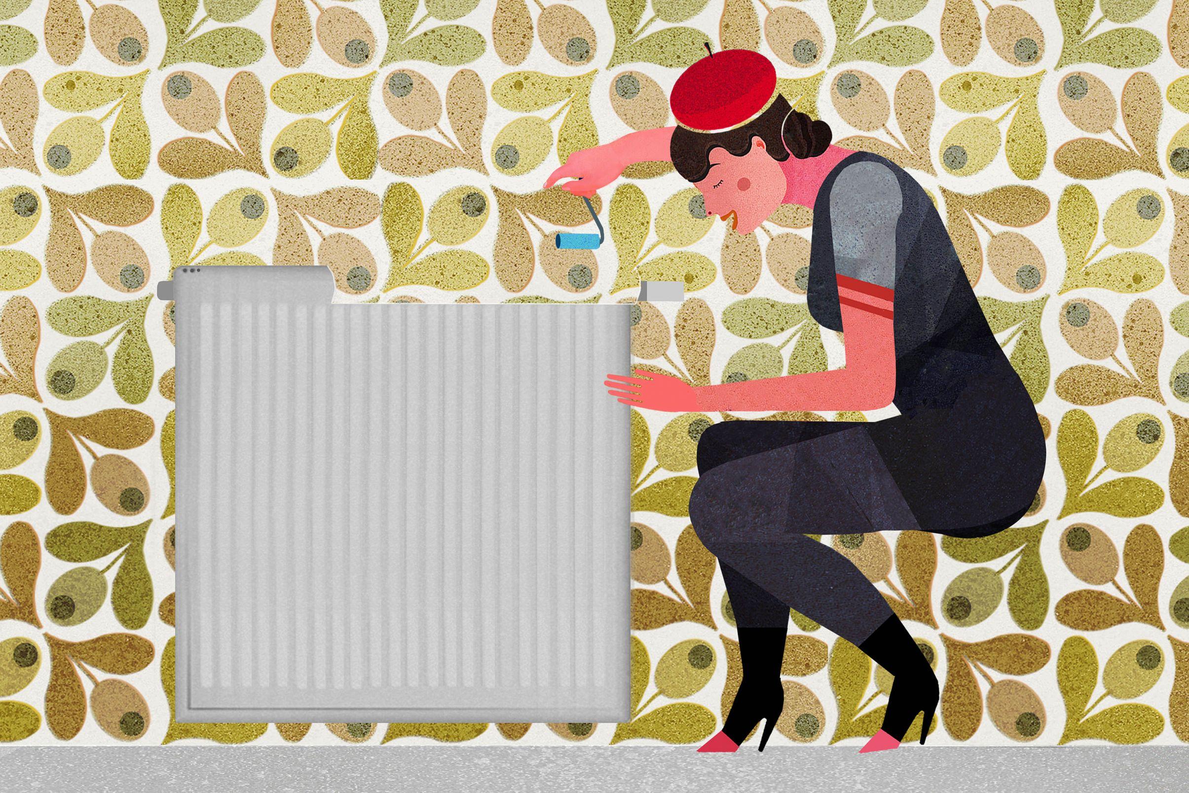 Comment-tapisser-derriere-les-radiateurs-Poser-le-papier-peint-en-allant-vers-les-bords-du-radiateur