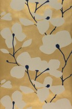 Wallpaper Munroe Shimmering Flower tendrils Blossoms Pearl gold Anthracite shimmer Cream shimmer