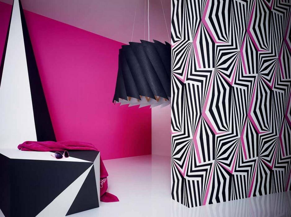 Papel de parede Dorus Mate Arte Moderna Branco Rosa Preto