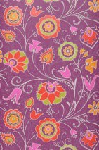 Wallpaper Flora Matt Stylised flowers Violet Yellow green Golden yellow Grey white Pink Red