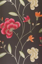 Wallpaper Madelaine Matt Flowers Black brown Gold Green Light ivory Orange Ruby red