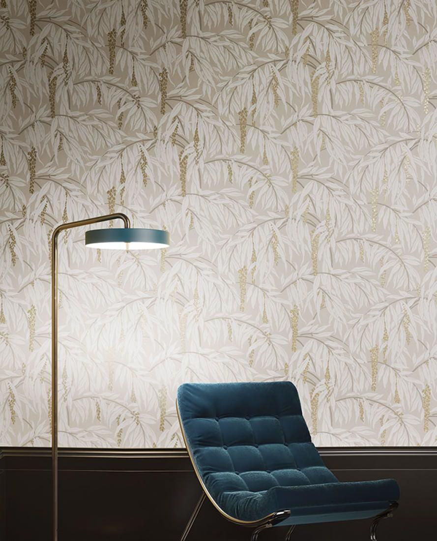 tapete maringa beigegrau creme graubraun perlgold tapeten der 70er. Black Bedroom Furniture Sets. Home Design Ideas