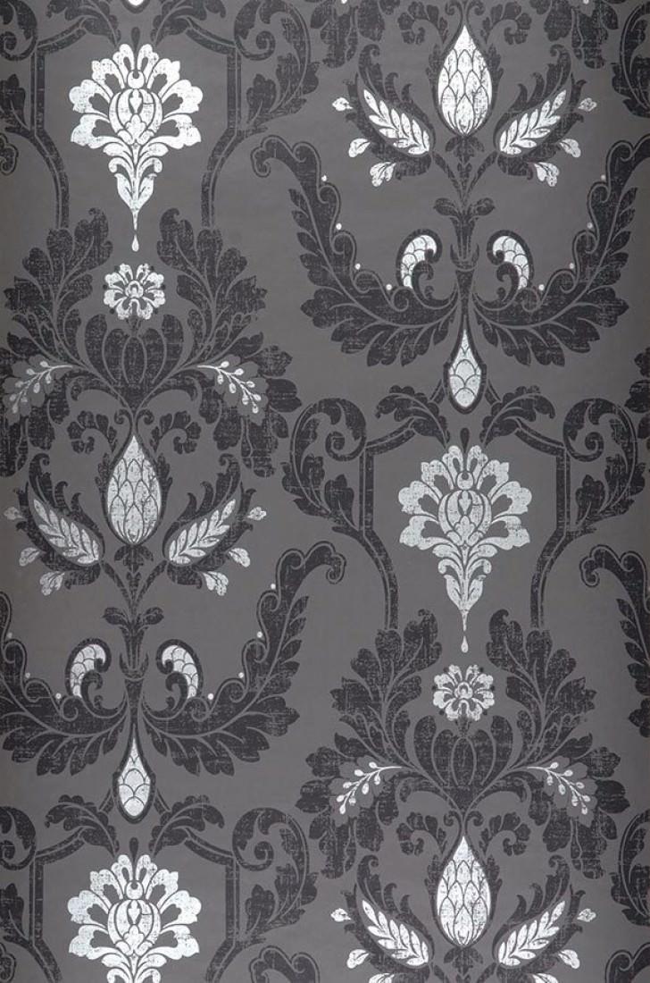 tapete livia dunkelgrau schwarz silber tapeten der 70er. Black Bedroom Furniture Sets. Home Design Ideas