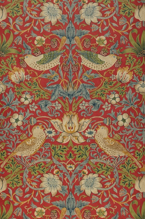 Tapete Faunus Matt Blätter Blüten Erdbeeren Vögel Rot Blassbraun Blaugrau Braunbeige Hellelfenbein Schilfgrün