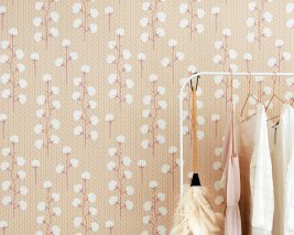 Wallpaper Sweet Cotton Hand printed look Matt Cotton plant Honey yellow Pale pink Brown red Cream