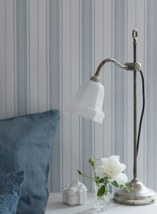 Striped Wallpaper Wallpaper Valerian light grey blue Room View