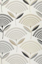 Wallpaper Romana Hand printed look Matt Stylised flowers Cream Beige grey Light grey beige Black Stone grey
