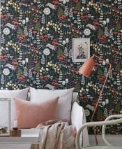 Wallpaper Eurissa Hand printed look Matt Leaves Flowers Animals Anthracite grey Cream Gorze yellow  Pastel violet Red orange Reed green