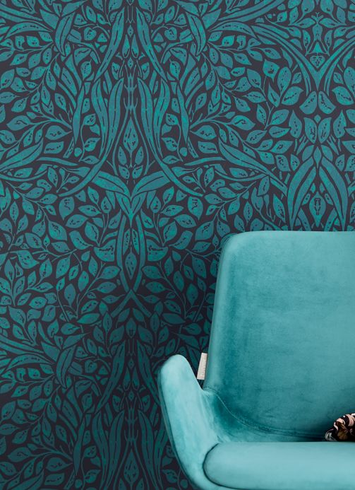 Papier peint art nouveau Papier peint Cortona bleu océan Vue pièce