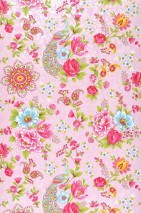 Wallpaper Ludmilla Matt Flowers Peacocks Rose Strawberry red Yellow green Light blue White