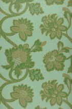 Wallpaper Mitra Matt Floral damask Light pastel green Olive yellow Pearl gold Emerald green