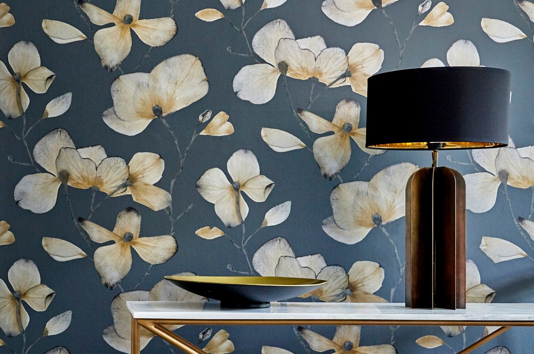 Floral Wallpaper Wallpaper Munroe anthracite grey Room View