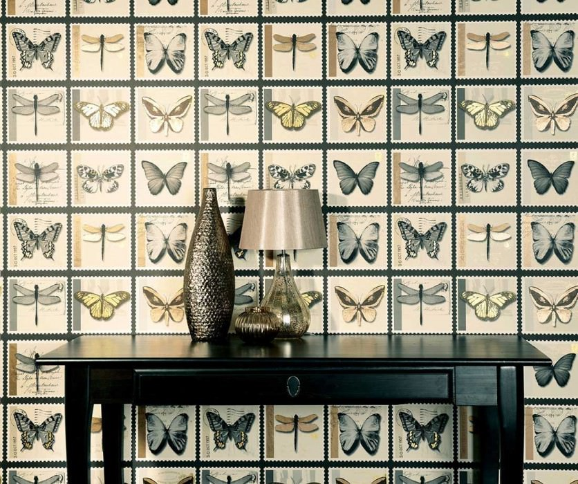 Wallpaper Anissa Matt Stamps Butterflies Anthracite Gold shimmer Grey Light ivory Black