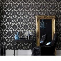 Wallpaper Samanta Matt Baroque damask White Black Silver