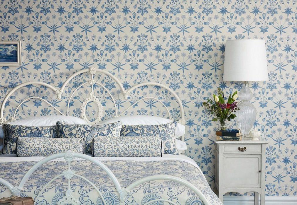 Papel de parede Vatea Mate Flores Branco creme Azul celeste Azul pastel