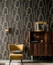 Wallpaper Osalli Shimmering pattern Matt base surface Graphic elements Anthracite Matt gold Matt silver